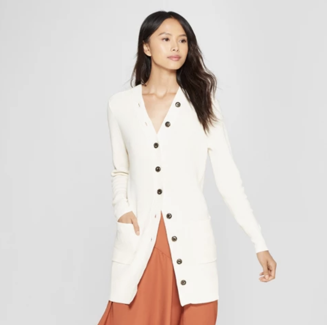 Who What Wear Long Sleeve Button Detail Cardigan
