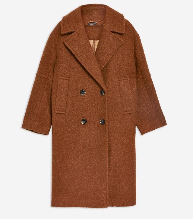 Topshop Bouclé Button Front Coat