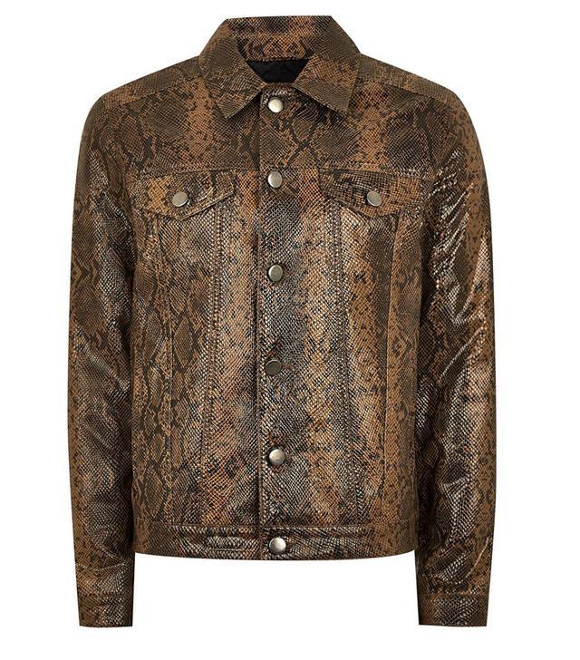 Topman Leather Snake Print Western Jacket
