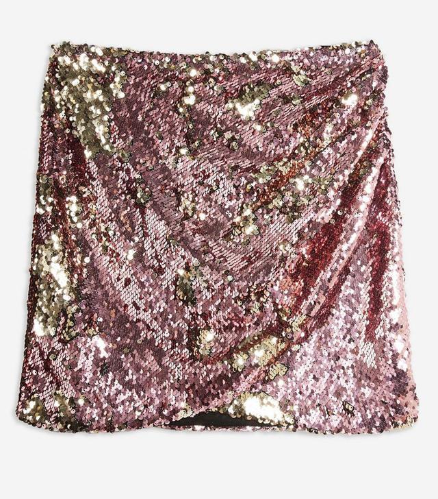 Topshop Sequin Drape Mini Skirt