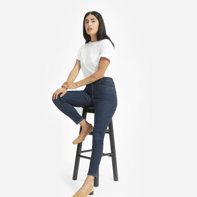 Women's Authentic Stretch High-Rise Skinny Ankle Jean by Everlane in Dark Blue Wash, Size 33