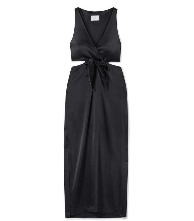 Regina Tie-front Cutout Satin Midi Dress