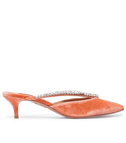 - Sabine 45 Velvet Mules - Womens - Light Pink