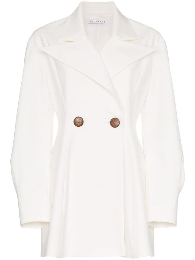 double breasted cotton blend long sleeve blazer