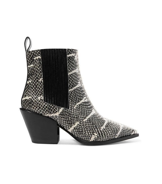 Kate Snake-effect Leather Ankle Boot