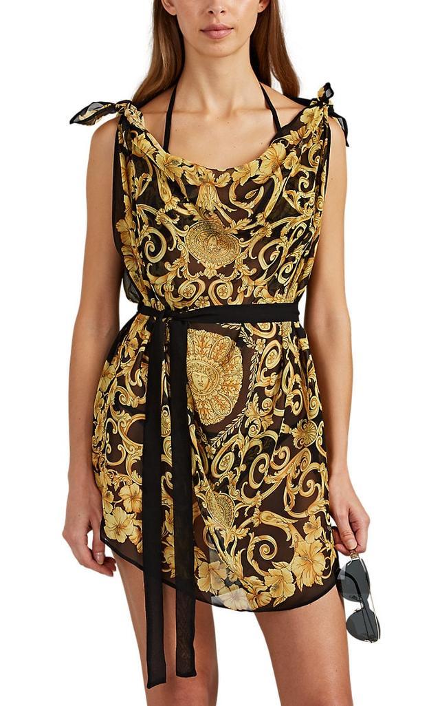 Women's Tie-Detailed Baroque-Print Silk Caftan - Black Size 38 IT