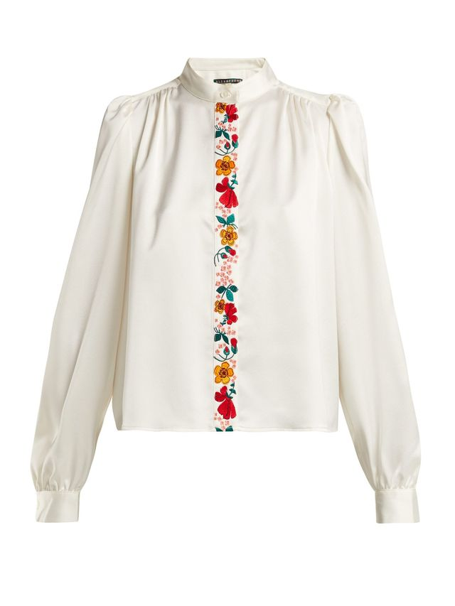 AlexaChung Floral-Embroidered Satin Blouse