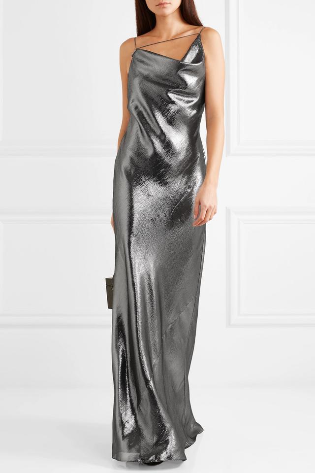 Draped Silk-lamé Gown