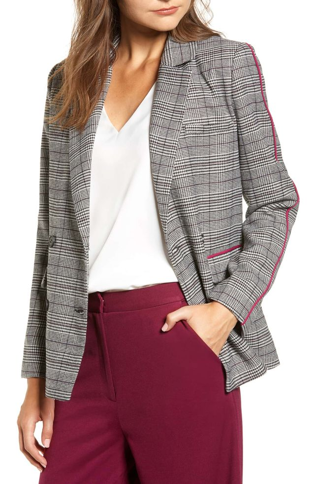 Chriselle Lim Collection Bianca Piped Houndstooth Blazer