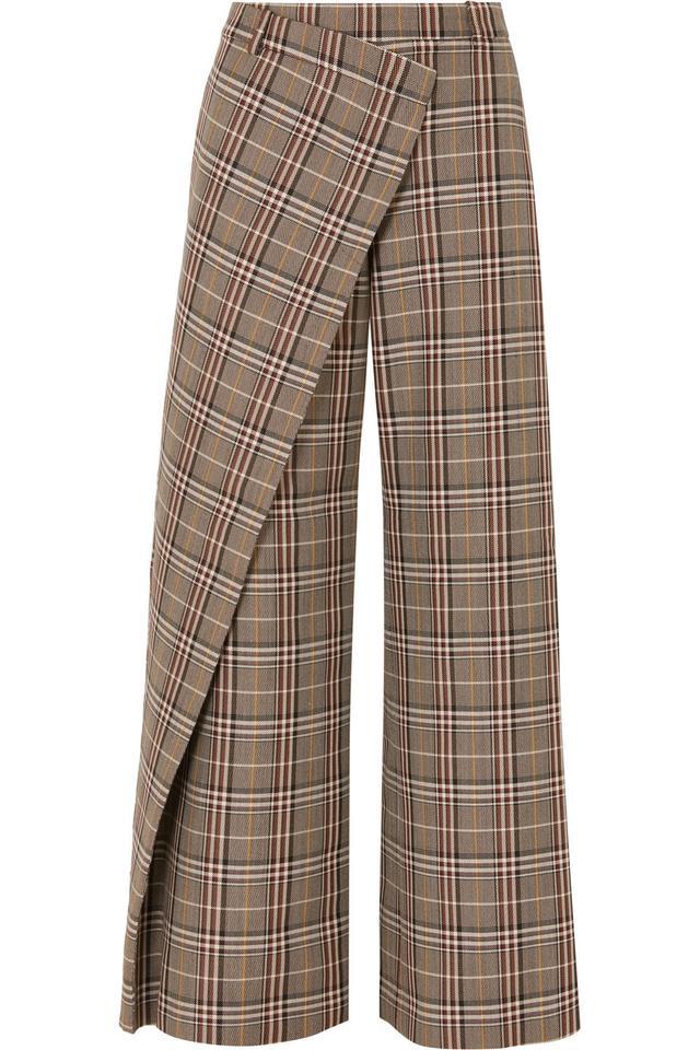 Wrap-effect Checked Wool-blend Canvas Wide-leg Pants
