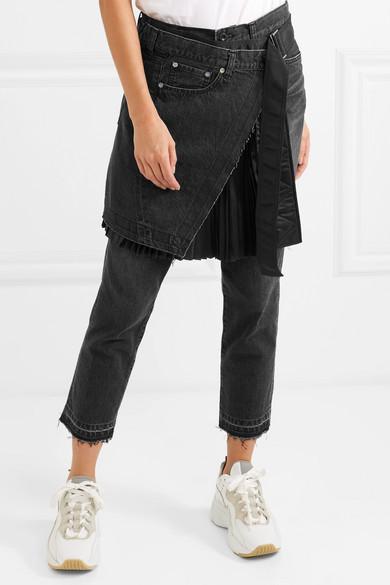 Shell-paneled Mid-rise Straight-leg Jeans