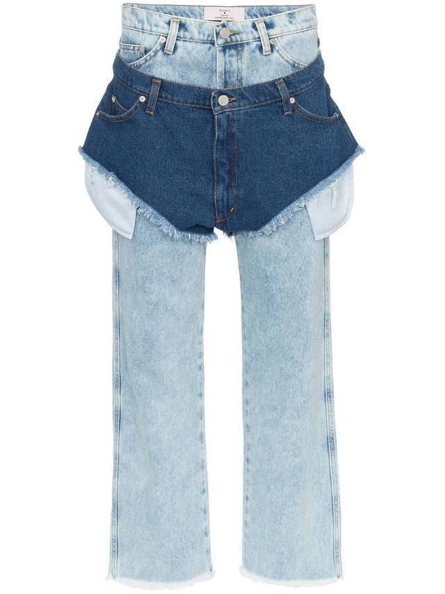 high waisted jeans with a denim shorts layer
