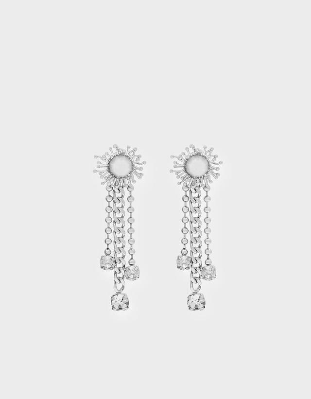 Charles & Keith Crystal Drop Clip On Earrings