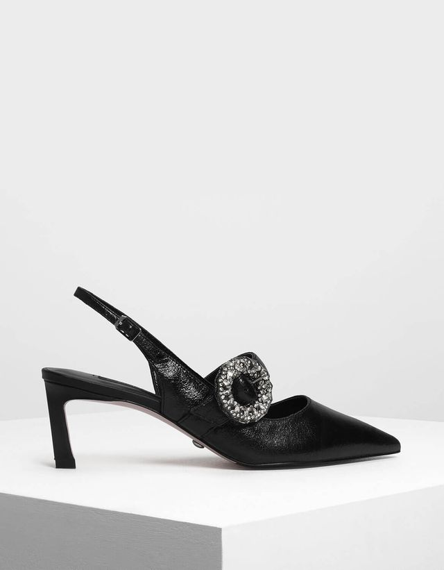 Charles & Keith Crushed Gem Effect Buckle Leather Slingbacks