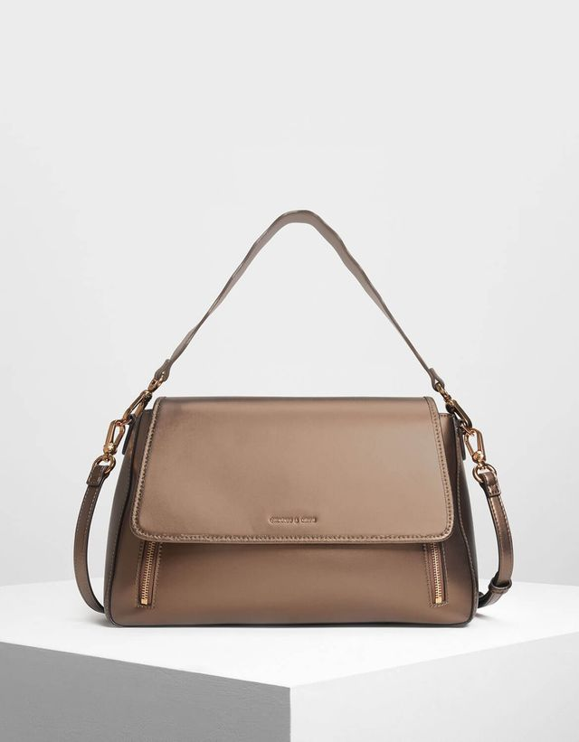 Charles & Keith Zip Detail Front Flap Bag