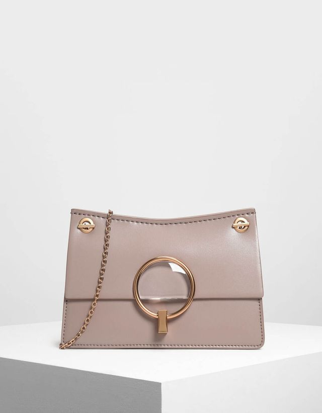Charles & Keith Lucite Buckle Clutch