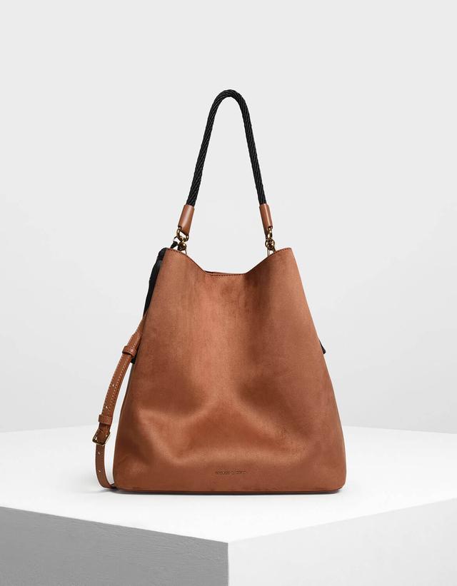 Charles & Keith Tassel Detail Oversized Bucket Bag