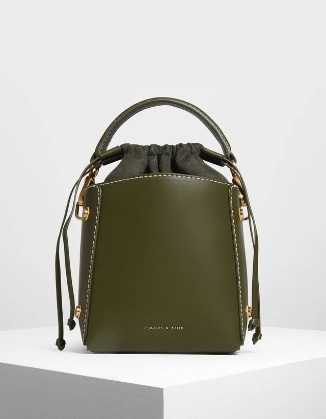 Charles & Keith Structured Drawstring Bucket Bag