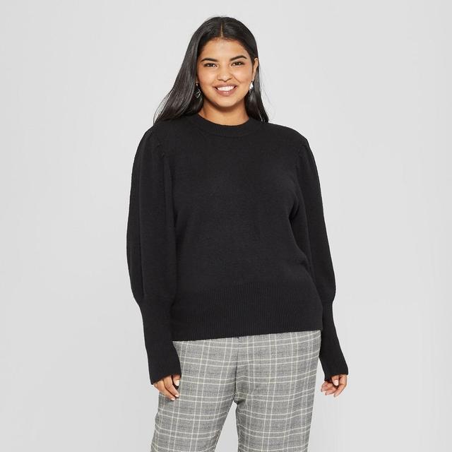 Long Puff Sleeve Crew Neck Sweater