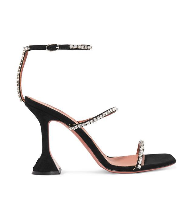 Amina Muaddi Gilda Swarovski Crystal-Embellished Suede Sandals