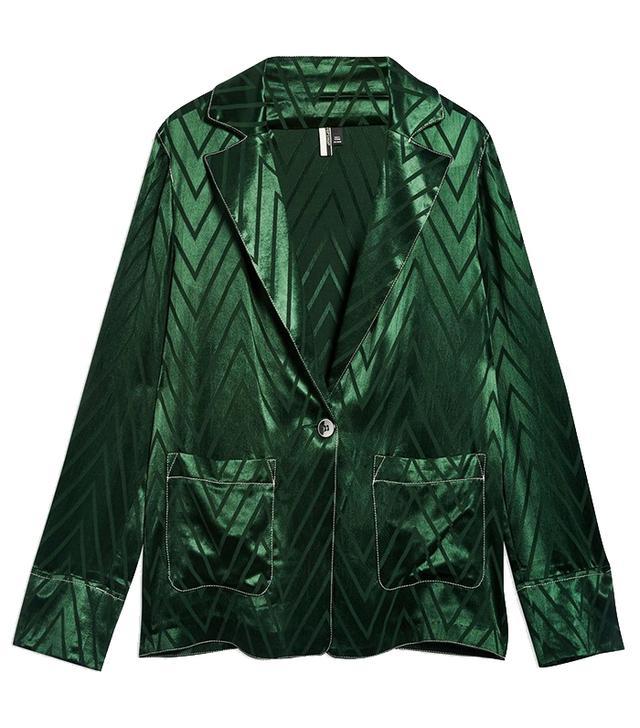 Topshop Chevron Contrast Stitch Jacket