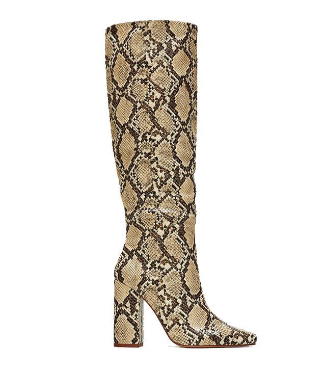 Zara Snakeskin Print Heeled Boots