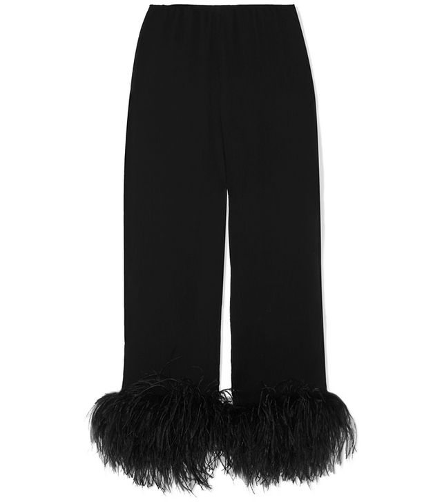 Prada Feather-Trimmed Crinkled Silk-Chiffon Straight-Leg Pants