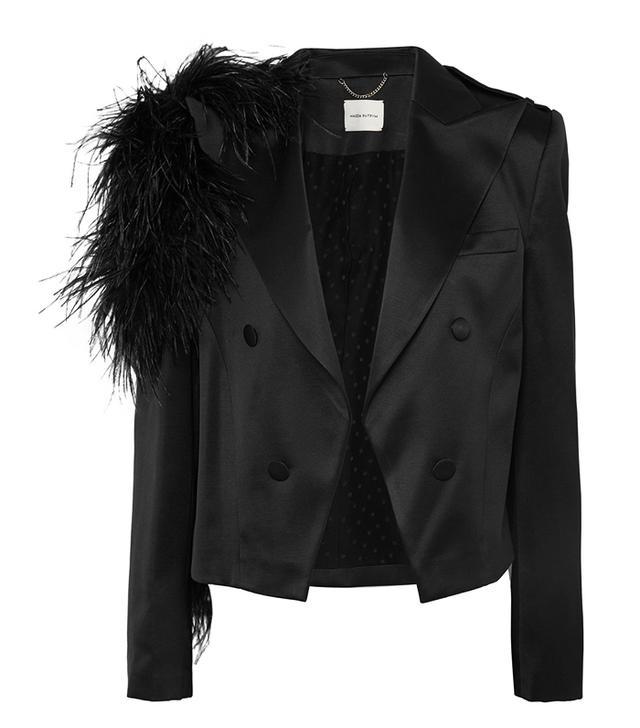 Magda Butrym Lubeck Feather-Trimmed Silk and Wool-Blend Blazer