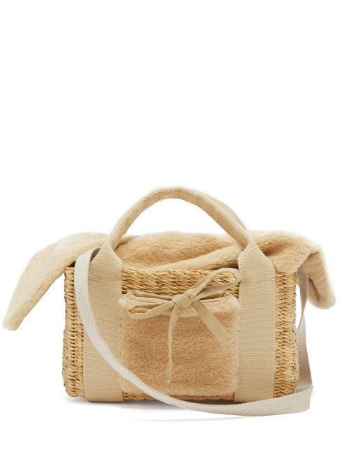 - Manon Shearling And Woven Straw Bag - Womens - Beige