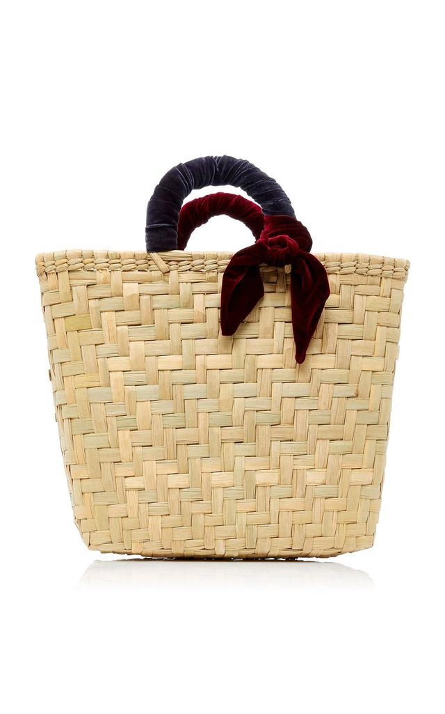 M'O Exclusive Donni Straw and Velvet Large Basket Bag