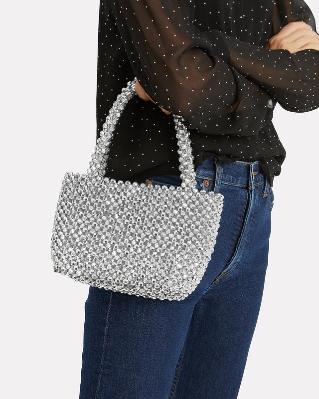 Loeffler Randall Mina Beaded Silver Bag Silver 1Size