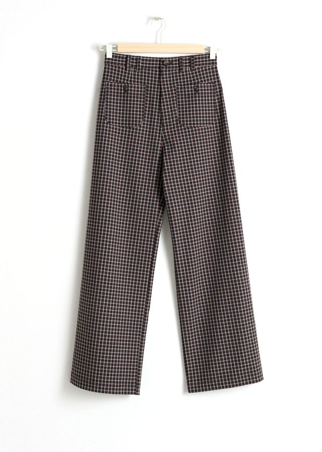 & Other Stories Kick Flare Plaid Trousers