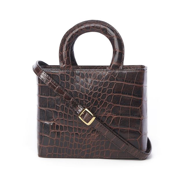Staud Clothing Brown Croc Embossed Nic Bag