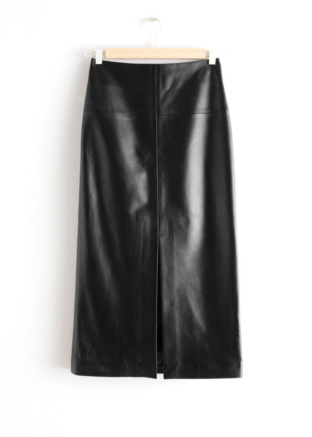 & Other Stories Front Slit Leather Midi Skirt