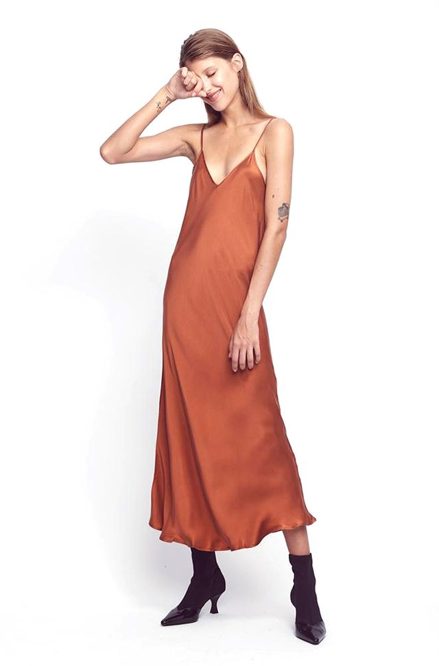 Silk Laundry 90s Silk Slip Dress in Rust