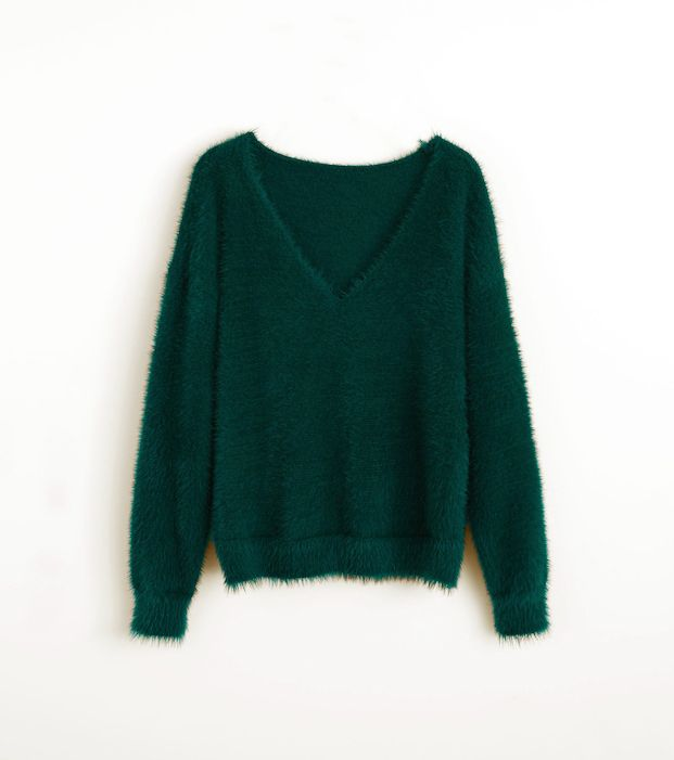 Mango Faux Fur Knit Sweater