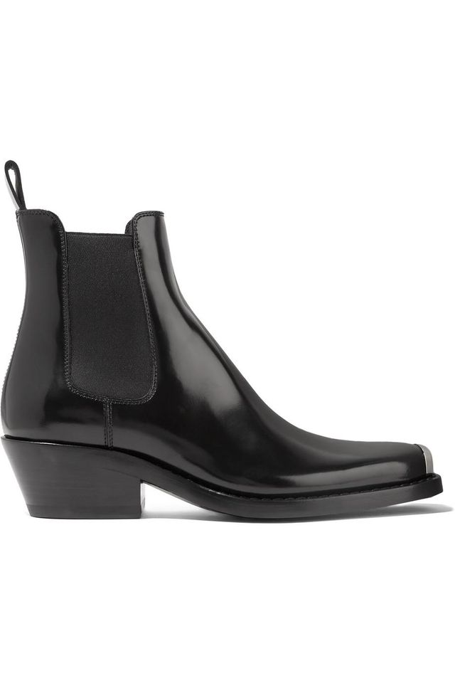 Claire Metal-trimmed Glossed-leather Ankle Boots