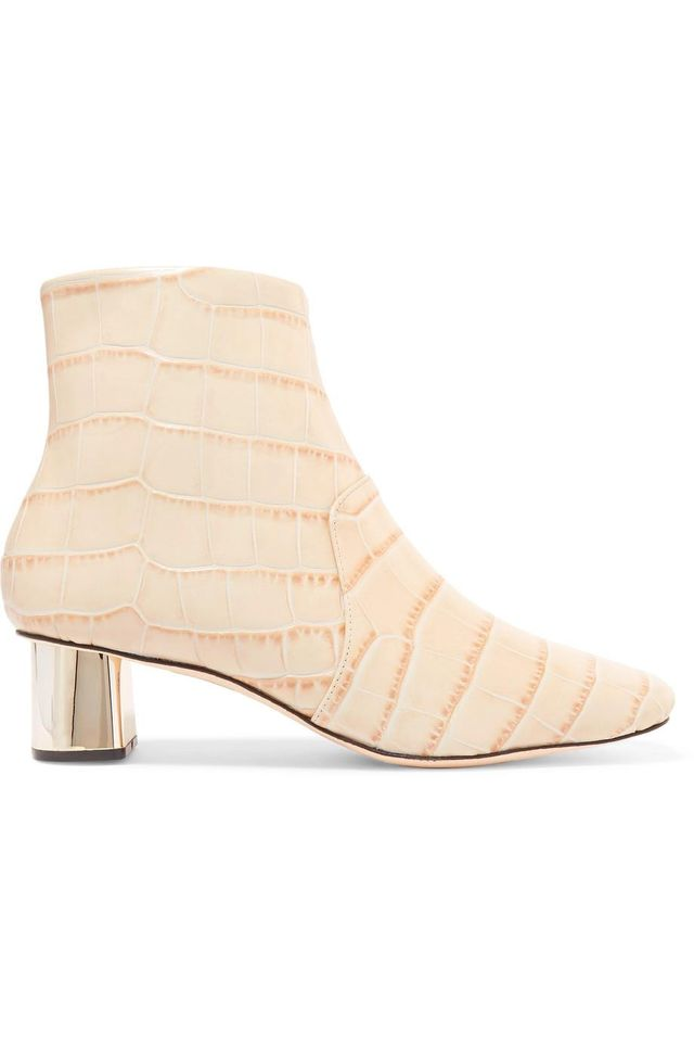 Clarence Croc-effect Leather Ankle Boots