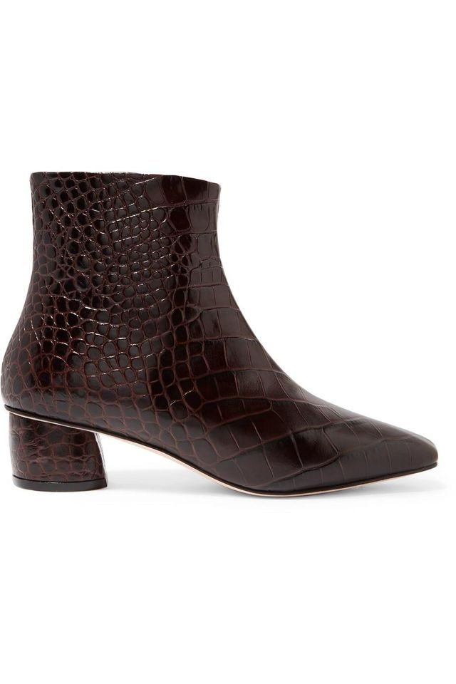 Matea Croc-effect Leather Ankle Boots