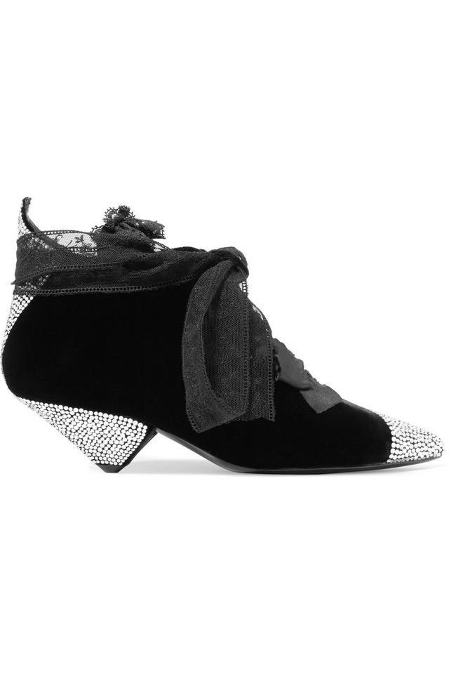 Blaze Crystal-embellished Lace-trimmed Velvet Ankle Boots