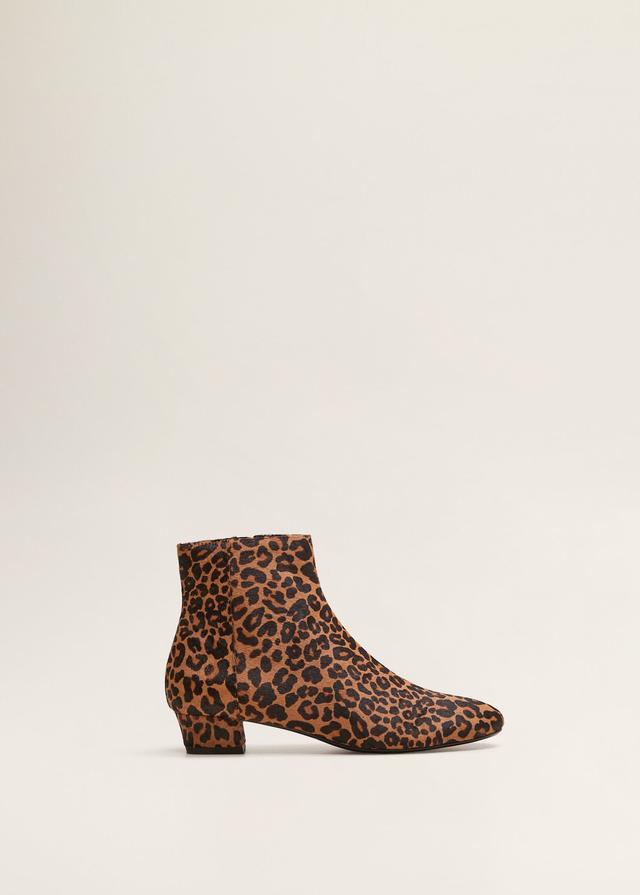 Mango Leopard-Print Ankle Boots