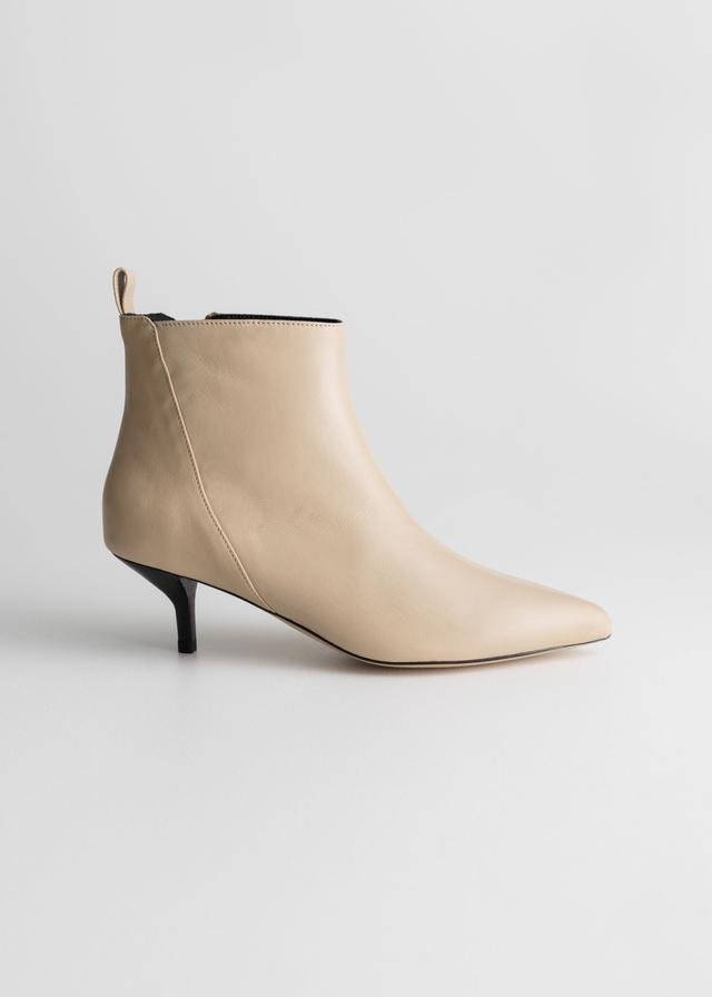 & Other Stories Leather Kitten Heel Boots