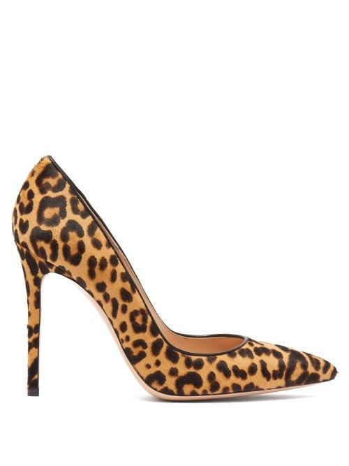 - Gianvito 100 Leopard Print Calf Hair Pumps - Womens - Leopard