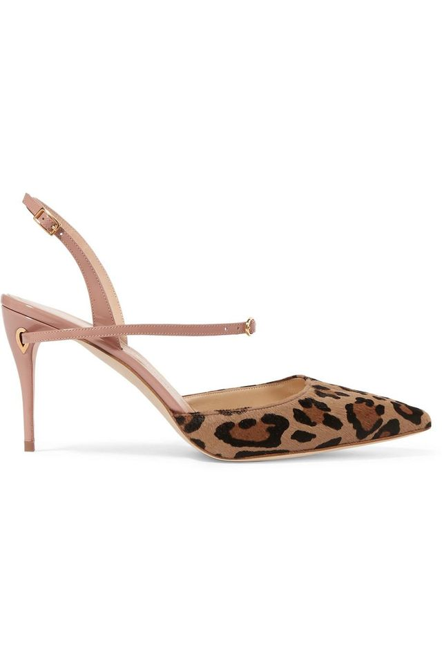 Vittorio Leopard-print Calf Hair And Patent-leather Slingback Pumps