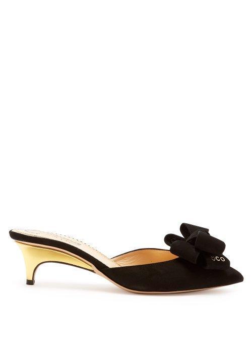 - Suede Bow Kitten Heel Mules - Womens - Black Gold