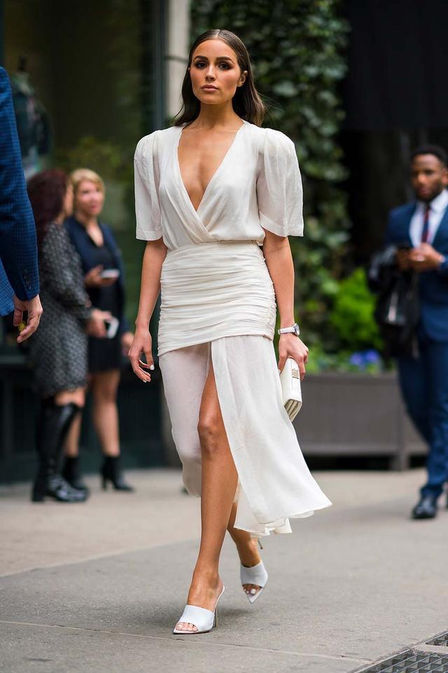 Olivia Culpo Wearing White Heels