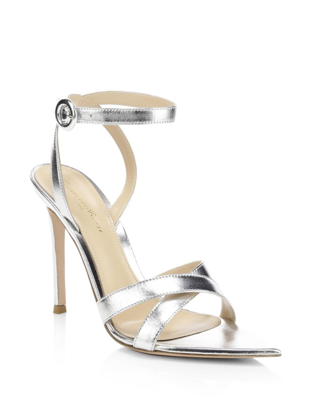 Gianvito Rossi Metallic Leather Ankle-Strap Sandals