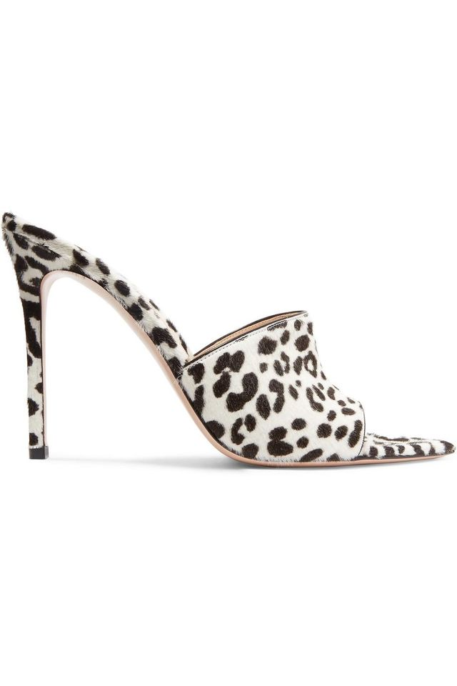 105 Leopard-print Calf Hair Mules