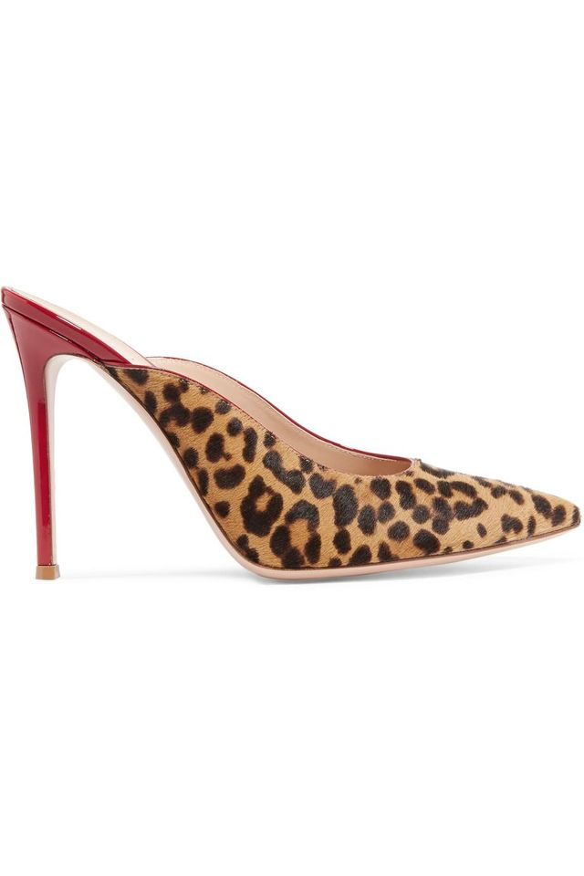 105 Leopard-print Calf Hair And Patent-leather Mules