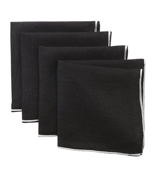 Black and White Linen Cocktail Napkins Set of 4